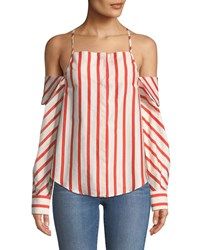 Stylekeepers Can't Be Tamed Off The Shoulder Striped Blouse Orange White