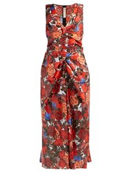 Marni Duncraig Print Floral Print Coated Cotton Dress Red Multi