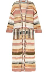 Missoni Oversized Striped Metallic Crochet Knit Cardigan Gold