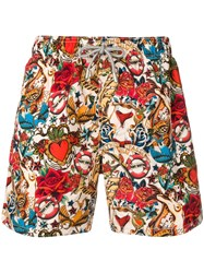 Mc2 Saint Barth All Over Print Swim Shorts Red
