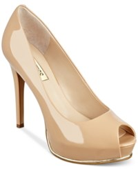Guess Women's Honora Platform Pumps Women's Shoes Natural Patent