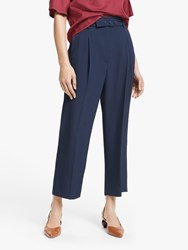 Marella Flauto High Waisted Cropped Trousers Navy