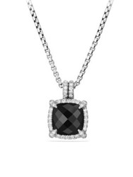 David Yurman Chatelaine Bezel Necklace With Black Onyx And Diamonds
