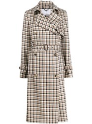 Paco Rabanne Plaid Trench Coat Brown