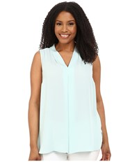 Vince Camuto Plus Size Sleeveless Blouse W Inverted Front Pleat Aqua Shade Women's Blouse Blue
