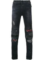 Marcelo Burlon County Of Milan Ain Biker Jeans Cotton Polyester Grey