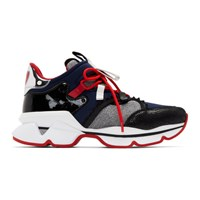 Christian Louboutin Black And Navy Red Runner Flat Sneakers