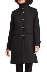 Lauren Ralph Lauren Wool Blend Military Coat Black
