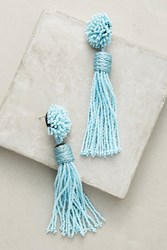 Anthropologie Lana Beaded Tassel Drop Earrings Sky