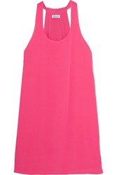 Splendid Crinkled Gauze Mini Dress Bright Pink