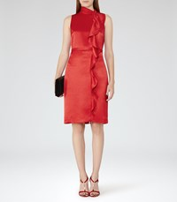 Reiss Lola Womens Ruffle Front Dress In Red