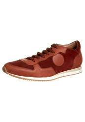 Kiomi The Everyday Leather Sneaker Trainers Cognac Rust Dark Red