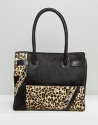 Urbancode Leather And Leopard Mix Tote Bag Black Tan