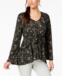 Styleandco. Style Co Printed Babydoll Top Calico Black