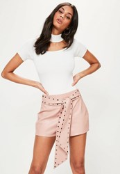 Missguided Pink Studded Belt High Waisted Faux Leather Shorts Blush