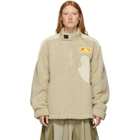 Off White Beige Eco Fur Moto Half Zip Pullover