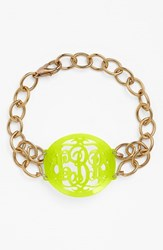 Women's Moon And Lola 'Annabel' Medium Oval Personalized Monogram Bracelet Lime Gold Nordstrom Exclusive