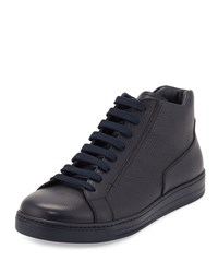 Prada Linea Rossa Leather Zip Side High Top Sneaker Blue