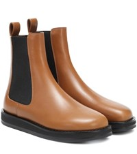 The Row Gaia Leather Ankle Boots Brown