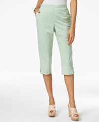 Alfred Dunner Petite Garden Party Gingham Pull On Capris Sage