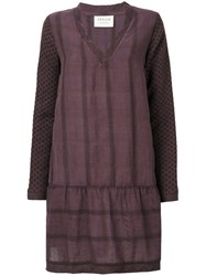 Cecilie Copenhagen Patterned Dress Women Cotton Linen Flax Xs Pink Purple