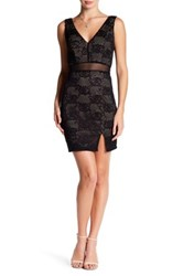 City Triangles Lace Double V Slim Dress Black