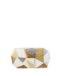 Rafe Vivienne Faceted Minaudiere Bag Gold Silver White