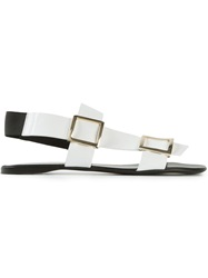 Gianmarco Lorenzi Buckled Flat Sandals White