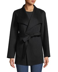 Neiman Marcus Luxury Double Faced Cashmere Mid Length Wrap Coat Black