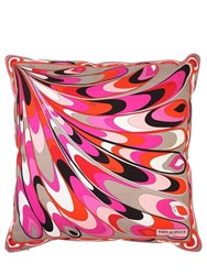 Emilio Pucci Farfalle Printed Silk Pillow Multicolor