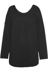 Marni Open Back Grosgrain Trimmed Ribbed Wool Sweater Black
