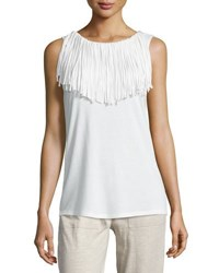 Grey State Solieil Sleeveless Fringe Top Spa White