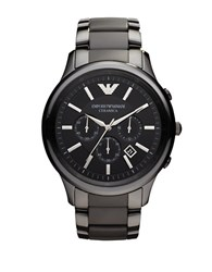Emporio Armani Mens Black Ceramic Chronograph Bracelet Watch