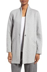Eileen Fisher Women's Quilted Jersey Stand Collar Jacket Moon