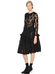 Simone Rocha Ruffled Chenille Embroidered Tulle Dress