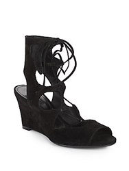 Schutz Ruthie Suede Gladiator Wedge Sandals Black