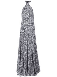 Derek Lam Marble Print Long Dress Black