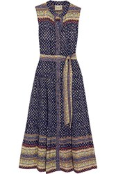 Sea Printed Silk Midi Dress Navy