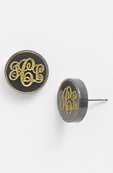 Women's Moon And Lola 'Chelsea' Small Personalized Monogram Stud Earrings Ebony Gold Nordstrom Exclusive