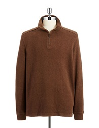 Black Brown Cotton Zipper Sweater Brown