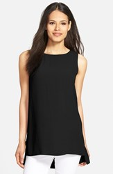Petite Women's Eileen Fisher Long Bateau Neck Silk Shell Black