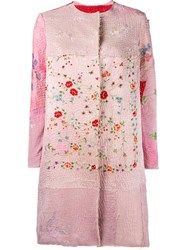 By Walid Floral Embroidered Coat Pink And Purple