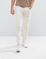 Selected Homme Jeans In Skinny Fit With Raw Hem Cream