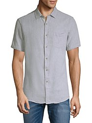 Report Collection Dobby Textured Short Sleeve Button Down Shirt Blue