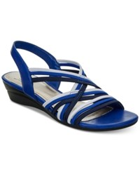 Impo Ramsey Stretch Slingback Wedge Sandals Women's Shoes Blue Multi