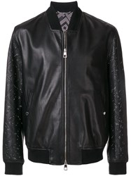 Versace Collection Perforated Leather Bomber Jacket Black