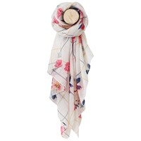 Joules Bircham Bloom Check Wensley Scarf Natural Multi