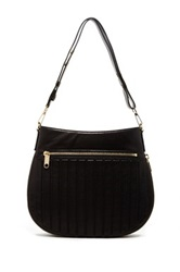 Milly Ludlow Convertible Leather Hobo Bag Black