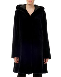 Gorski Sheared Mink Fur Reversible Silk Taffeta Hooded Coat Navy