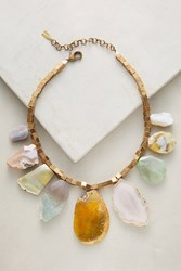 Anthropologie Agate Statement Necklace Green